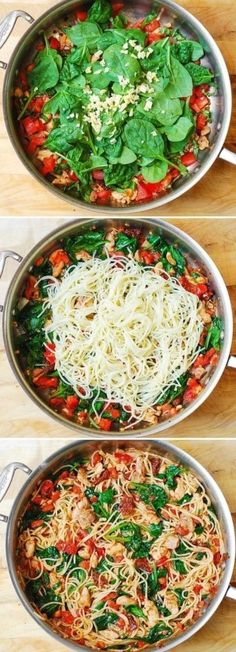 Healthy Dinner Ideas Spaghetti with Chicken, Tomatoes, and Spinach & 20 Healthy Meals You Can Make In 20 Minutes The post Healthy Dinner Ideas & Things I want to cook & healthy appeared first on Health . Easy Healthy Dinners, Easy Dinner Recipes, Healthy Snacks, Dinner Ideas, Dinner Healthy, Dinner Recipes For Two On A Budget, Healthy Recipes For Two, Recipes With Fresh Spinach, Healthy Meals With Chicken