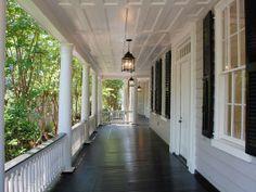 Exterior house porch ideas with stone columns Painted Porch Floors, Porch Paint, Porch Flooring, Dark Flooring, Porch Columns, Porch Steps, Stone Columns, Front Porch Design, Front Porches