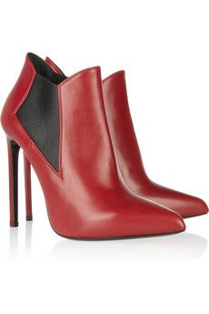 Saint Laurent Red leather ankle boots: For Bad-Asses Only