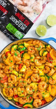 This Easy Shrimp and Vegetable Skillet makes a healthy quick and delicious dinner! Packed with wild-caught shrimp tender zucchini and sweet bell peppers it is going to become your favorite seafood dish! Food Network Recipes, Cooking Recipes, Healthy Recipes, Bean Recipes, Chili Recipes, Rice Recipes, Pasta Recipes, Clean Eating Snacks, Healthy Eating