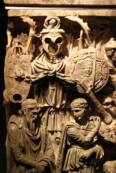 Close-up of some of the carvings on The Portonaccio Sarcophagus. It was the sarcophagus of a high-ranking Roman soldier who served under Marcus Aurelius.