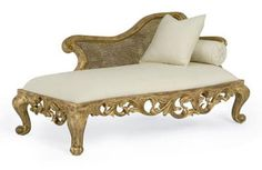 Barrymore Furniture - Chaise Longue with Carved & Rattan Details Christopher Guy