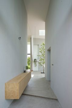 High ceiling hallway. House in Ohno by Airhouse Design Office. Photo by Toshiyuki Yano.