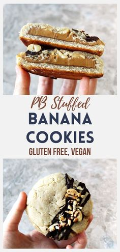 You can't go wrong with the classic banana, peanut butter and chocolate combo. These flavors all work together in this delicious jumbo stuffed cookie, where a creamy peanut butter is stuffed into a banana and almond flour cookie batter, packed with a handful of crunchy roasted whole peanuts. I love it when my cookie recipes are actually secretly healthy 🙂 #peanutbuttercookie #glutenfreebaking #vegancookie #veganbaking #healthycookie Gluten Free Cookies, Gluten Free Desserts, Yummy Cookies, Vegan Desserts, Delicious Desserts, Cookies Vegan, Vegan Sweets, Yummy Food, Easy Baking Recipes
