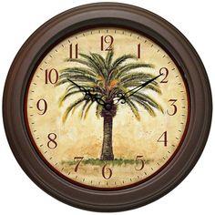 """Amazon.com: The Cabana 12"""" Resin Palm Tree Wall Clock: Home & Kitchen"""