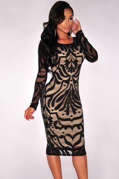 Black Victorian Net Nude Illusion Her Fashion Long Sleeves Women Dress