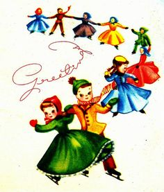 Vintage Ice Skaters Holiday Greeting Card
