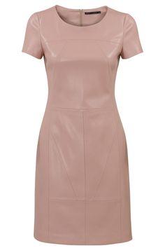 Imitatie leren jurk met ronde hals Licht Roze