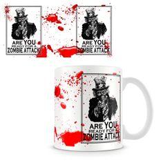 Taza The Walking Dead. Zombie Attack Original taza que utiliza el famoso póster propagandístico del Tio Sam en pleno holocausto zombie.