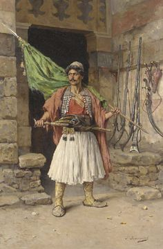 The Greek sentinel - Paul Joanovitch (Austrian, Oil on Canvas Costume Ethnique, Albanian Culture, Jean Leon, Greek Paintings, Greek Warrior, Medieval Armor, Inspirational Artwork, Painting Videos, Military Art