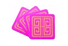 Greek Key Coasters (Magenta) - Living With Color Designs