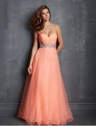peachy prom dress