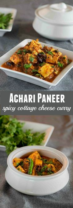 Achari paneer is an aromatic curry from punjabi cuisine in which chunks of soft chunks of paneer are simmered in a gravy that is made with tomatoes and yogurt along with some spices. The use of yogurt makes this curry look rich and creamy yet taste light. It's a perfect curry to go with Paratha or chapati