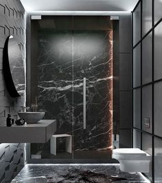 Luxury marble bathroom with black marble Black marble luxury bathroom out of LuxusBadezimmer Marble schwarzem Minimalist Bathroom Design, Modern Bathroom Design, Bathroom Interior Design, Minimal Bathroom, Modern Bathrooms, Beautiful Bathrooms, Interior Decorating, Decorating Ideas, Decor Ideas