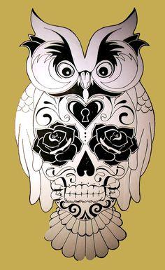 TATOUAGE | Hibou + tête de mort (dessin préparatoire)