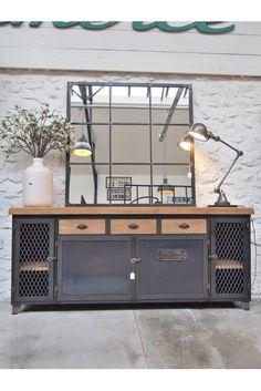 Industrial sideboard in oak prime Industrial Style Furniture, Rustic Furniture, Home Furniture, Office Furniture, Metal Sideboard, Sideboard Buffet, Credenza, Western Decor, Rustic Decor