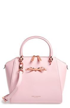 rose gold bow and hardware on this pink Ted Baker tote