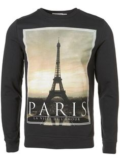 Sweater with a black paris scene by Topman