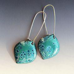 Blue and turquoise drop earrings, long leaf dangle earrings, bohemian enamel jewelry sterling silver