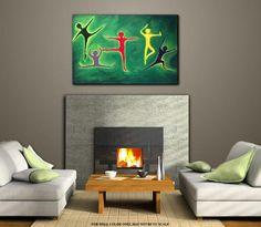 Wall Art Contemporary home decor Modern Figurative Original Acrylic on Canvas of primitive figures of Red Yellow Blue TITLE: Dance in Green Contemporary Abstract Art, Contemporary Home Decor, Contemporary Artists, Modern Decor, Modern Art, Home Decor Wall Art, Room Decor, Acrylic Painting Canvas, Wall Colors