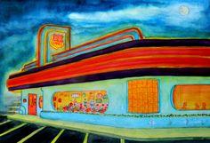 """66 DINER"", watercolor & pencil,, 15x22, march 29, 2014"