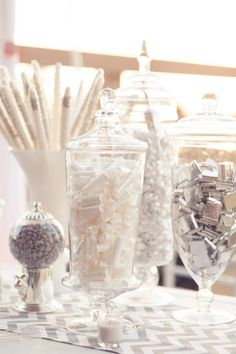 Silver and white themed lolly buffet... perfect for a winter wedding x