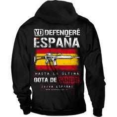 Yo defenderé España Sudadera - Esto es España Camisetas y Sudaderas. Tallas desde S hasta 5XL. Unisex, Hoodies, Sweaters, Fashion, Spain Flag, Hooded Sweatshirts, Cowls, Parts Of The Mass, T Shirts