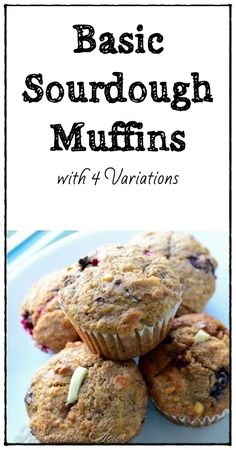 Chocolate Chocolate Chip Sourdough Muffins... need I say more?! One of four variations on a basic sourdough muffin www.reformationacres.com...