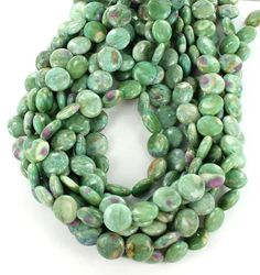 ZOISITE WITH RUBY INCLUSION COIN BEADS 14mm from New World Gems