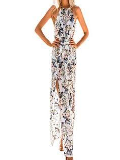 Ode Joy donna Stile boemo Collo appeso Alto design aperto Vita Floreale  vestito Cerimonia Abiti Vacanze Irregolari 7dc37617497