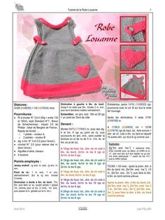 Fichier PDF: Tuto Robe Louanne par Julie Sanders - Page Crochet Baby Sweaters, Crochet Coat, Crochet Cardigan Pattern, Knit Baby Dress, Baby Cardigan, Cardigan Sweaters, Layette Pattern, Knitting Dolls Clothes, Baby Knitting Patterns