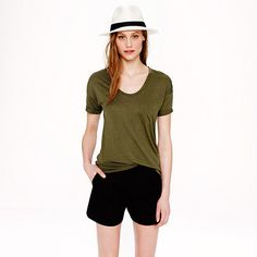 Olive Tee and Panama Hat | 25% off J.Crew #currentlyobsessed