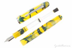 The Neponset is a glimpse back in time to an era of legacies and war heroes. The shape of the Neponset pen is similar to the dirigible and is constructed of a beautiful yellow and green acrylic resin. The Neponset is fitted with a flexible steel three tined music nib. <br><br><i>This item is on closeout and is thus ineligible for return. All sales are final.</i>