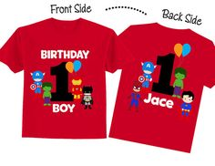 Adorable birthday shirt with superheroes with the saying Birthday Boy on the front and on the back is a big number 1 and childs name. You can change the saying if you choose , just leave me a message. This is a front and back design.  ********************************************************************************* HOW TO ORDER :  Simply put this information into the Notes to Seller box or copy and paste it. 1 Age if other than one 2. Name for personalization (optional) 3. Phone number…