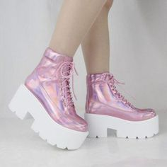 shoes pumps sneakers tennis shoes pink pastel pink creepers holographic laces white kawaii lovely cute grunge pastel grunge pastel goth harajuku dolls kill