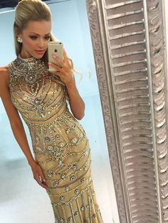 2016 Custom Charming Champagne Beading Prom Dress,Sexy See Through Evening Dress,Sexy Backless Long Prom Dress