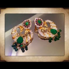 """Gold Plated SS Emerald & Topaz Earrings ONE OF A KIND, VERY UNIQUE. Sterling Sliver. NOT STAMPED, & GOLD PLATED. Main Stone: Emerald.  Earrings measure at 2"""" in lenght, by 1.5 width.  Weight 27 grams. I NEVER WORE THEM BUT ONE OF THE POST IS A LITTLE BENT. Jewelry Earrings"""