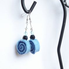 Earrings  unique felted rolls in blue felt merino by MarudaFelting