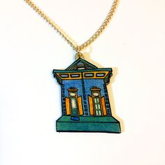 Kerlerec St. Necklace – Blue and Teal New Orleans Shotgun House, $25 on Etsy