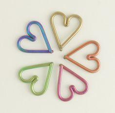 16 gauge Niobium Heart Piercing - Hypo Allergenic - You Pick Color - Cartilage piercing. $ 15.00, via Etsy.