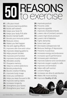 50 reasons to exercise - fitness workout motivation! Some great reasons to get out and get busy! - Try out today enjoy health fitness Via Sport Motivation, Montag Motivation, Daily Motivation, Weight Loss Motivation, Motivation Inspiration, Health Motivation, Workout Inspiration, Skinny Motivation, Motivation To Work Out
