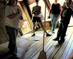 Oregon Vortex, Gold Hill, OR: Measuring 165 feet in diameter and known for producing intense feelings of vertigo, this curious site in southern Oregon has attracted visitors since the 1930s. Here, balls roll uphill, brooms stand on end, and people appear to grow and shrink inside its centerpiece, a former gold mining outpost called the House of Mystery.