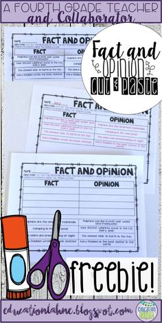 This Fact and Opinion Cut and Paste FREEBIE is the perfect activity for third, fourth, and fifth graders working on improving this language arts skill! Have your students sorting eight different statements in either the fact or opinion category for extra practice on this skill. Did I mention... it's FREE?! For more activities like this one, visit Education Lahne on Pinterest!