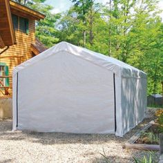 10 X 20 Portable Garage With Sidewalls And Plastic Windows