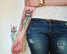 Bumpkin Tattoo coruja colours