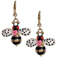 Betsey Johnson Bumble Bee Drop Earrings ($35) ❤ liked on Polyvore featuring jewelry, earrings, no color, bumble bee earrings, gold tone earrings, gold tone drop earrings, multi colored earrings and gold colored earrings