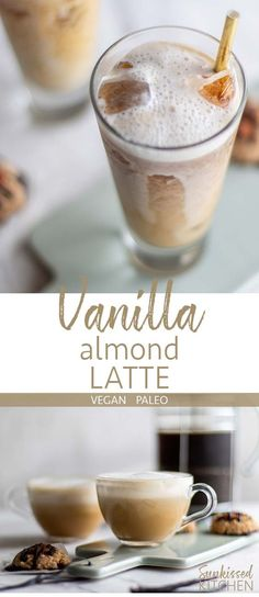 Vanilla Almond Latte Vanilla Almond Latte / This healthy paleo and vegan latte starts with a homemade vanilla almond milk creamer. Enjoy hot or as an iced almond latte. Almond Milk Recipes, Homemade Almond Milk, Smoothies With Almond Milk, Homemade Vanilla, Iced Vanilla Latte Recipe, Green Smoothies, Easy Smoothies, Homemade Breads, Almond Milk Creamer