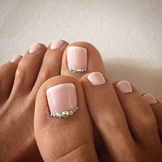 Pink French Pedicure with Rhinestones