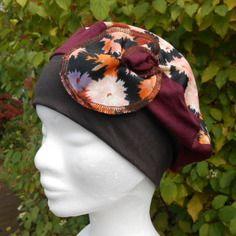 Turban bonnet béret chapeau doux jersey doux femme bordeaux et marron