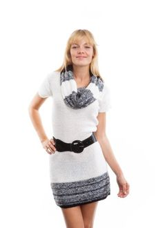 Save $19.75 on Curve Appeal Cowl Neck Belted Short Sleeve Sweater Dress with Elastic Belt; only $24.25 + Free Shipping